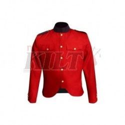 Canadian Police Style Cutaway Tunic in Red Gabardine Wool with Navy Collar and Epaulettes