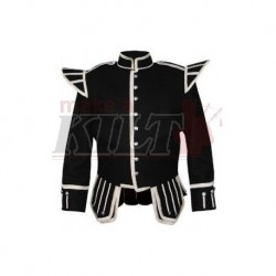 Black Pipe Band Doublet with silver bullion trim and silver buttons