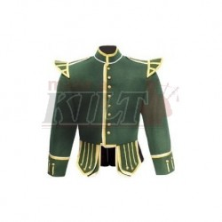 Green Pipe Band Doublet with gold bullion trim and gold buttons