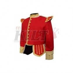 Red  Buff Pipe Band Doublet with buff collar, cuffs, and epaulettes, gold braid trim and gold buttons