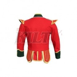 Red / Green Pipe Band Doublet with green collar, cuffs, and epaulettes, gold braid trim and gold button
