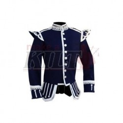 Navy Blue Pipe Band Doublet with silver buttons and scrolling silver braid trim