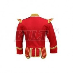 Red Pipe Band Doublet with scrolling gold braid trim