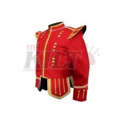 Red Pipe Band Doublet with gold braid trim and 18 button zip front
