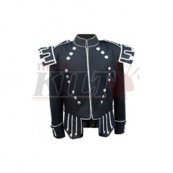 Black Traditional Scots Guards Style Doublet with Castellated Shoulder Shells in Gabardine Wool with 18 Button Zip Front
