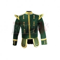 Green Pipe Band Doublet with gold buttons and fancy scrolling gold trim