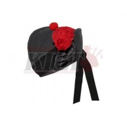 Black Glengarry Hat with Red Toorie