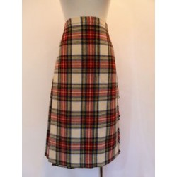 BLARNEY CASTLE sz 14 Ireland Wool Plaid Traditional Tartan Plaid Wrap Skirt Kilt