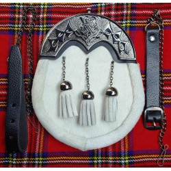 New Scottish Kilt Tassels COWHIDE Leather Sporran with Chain belt